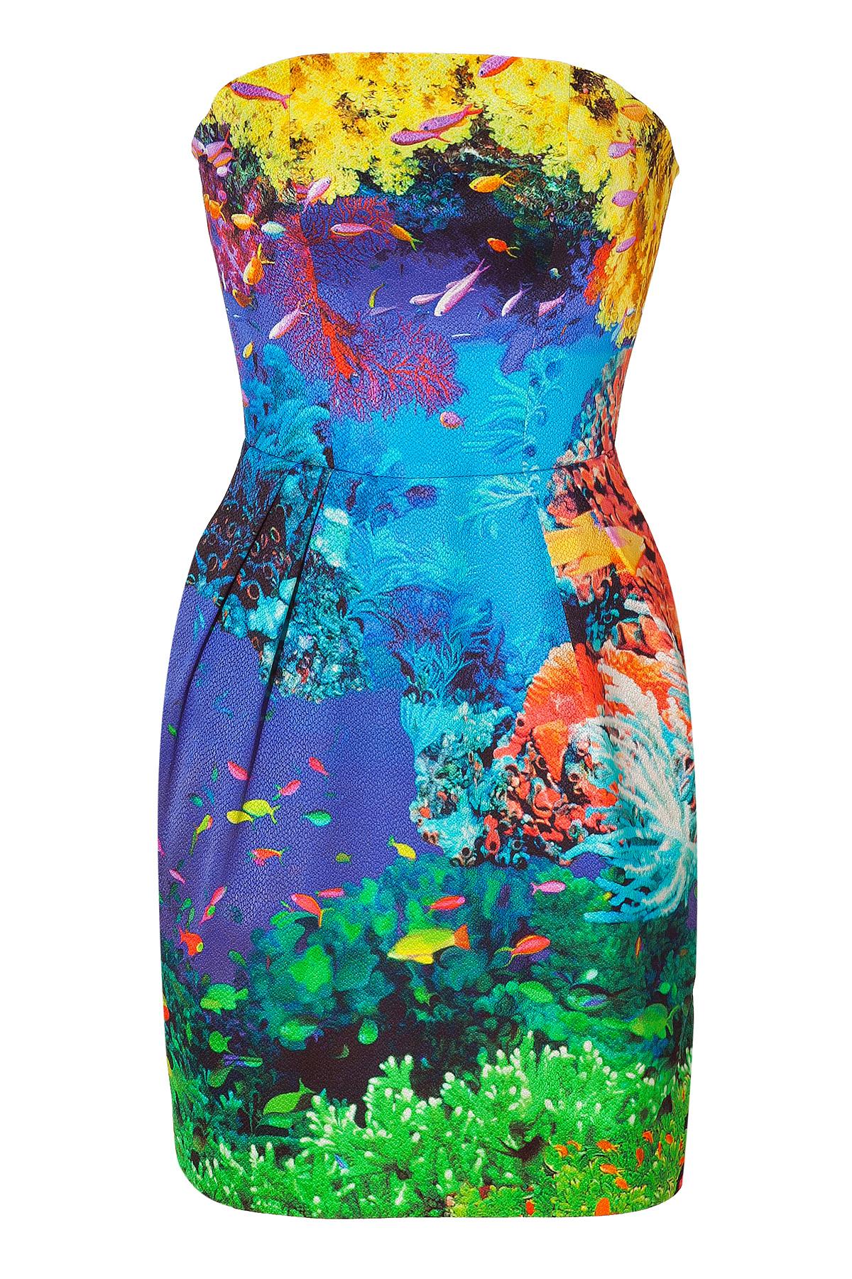 Lyst Mary Katrantzou Coral Reef Strapless Puff Dress