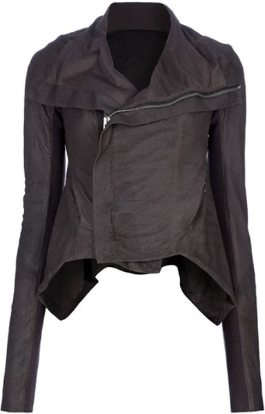 Rick Owens Dna Leather Biker Jacket in Brown - Lyst