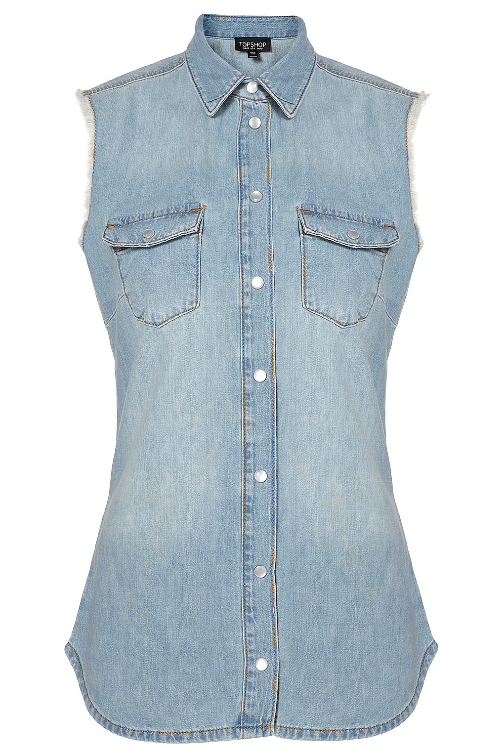 Lyst topshop sleeveless denim shirt in blue for Womens denim shirts topshop