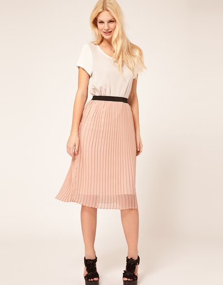 asos pleated skirt in pink lyst