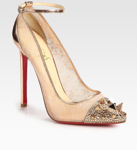 Christian Louboutin Picks Co Crystal Studembellished Lace and Metallic Leather Pumps in Beige (gold)