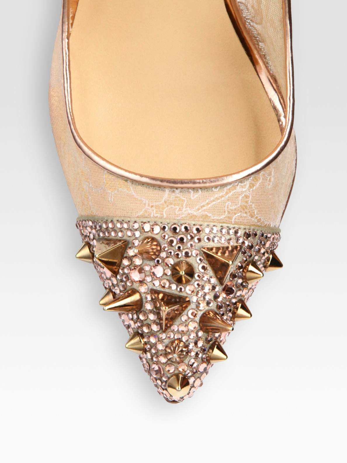 christian louboutin metallic embellished pumps