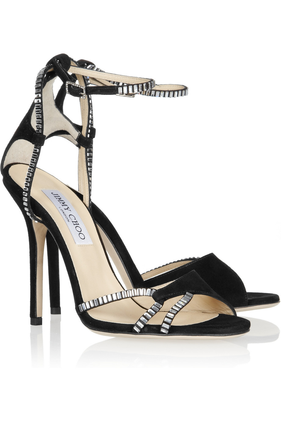 3490af66ad43 Jimmy Choo Morgan Crystalembellished Suede Sandals in Black - Lyst