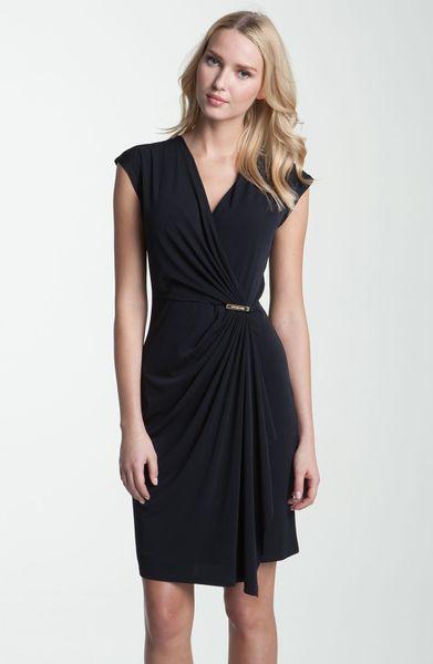 Michael Michael Kors Cap Sleeve Wrap Dress In Blue Navy