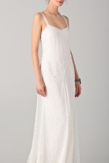 White Maxi Dress on Di Alberta Ferretti White Lace Trimmed Silk Chiffon Maxi Dress