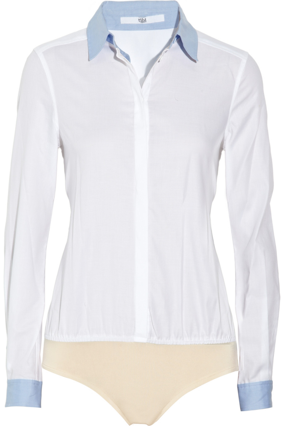 2fa0b622c13c Lyst - Tibi Cotton-twill Shirt-style Bodysuit in White