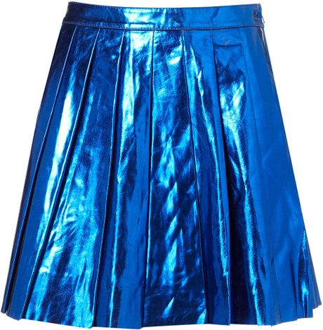topshop metallic pleated skirt in blue bright blue lyst