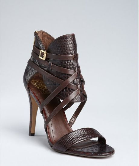 Vince Camuto Cognac Croc Embossed Leather Aman Heeled