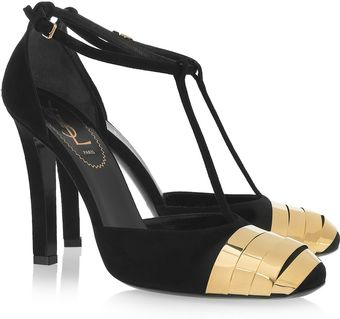 Yves Saint Laurent Candide Paneled Suede Pumps - Lyst
