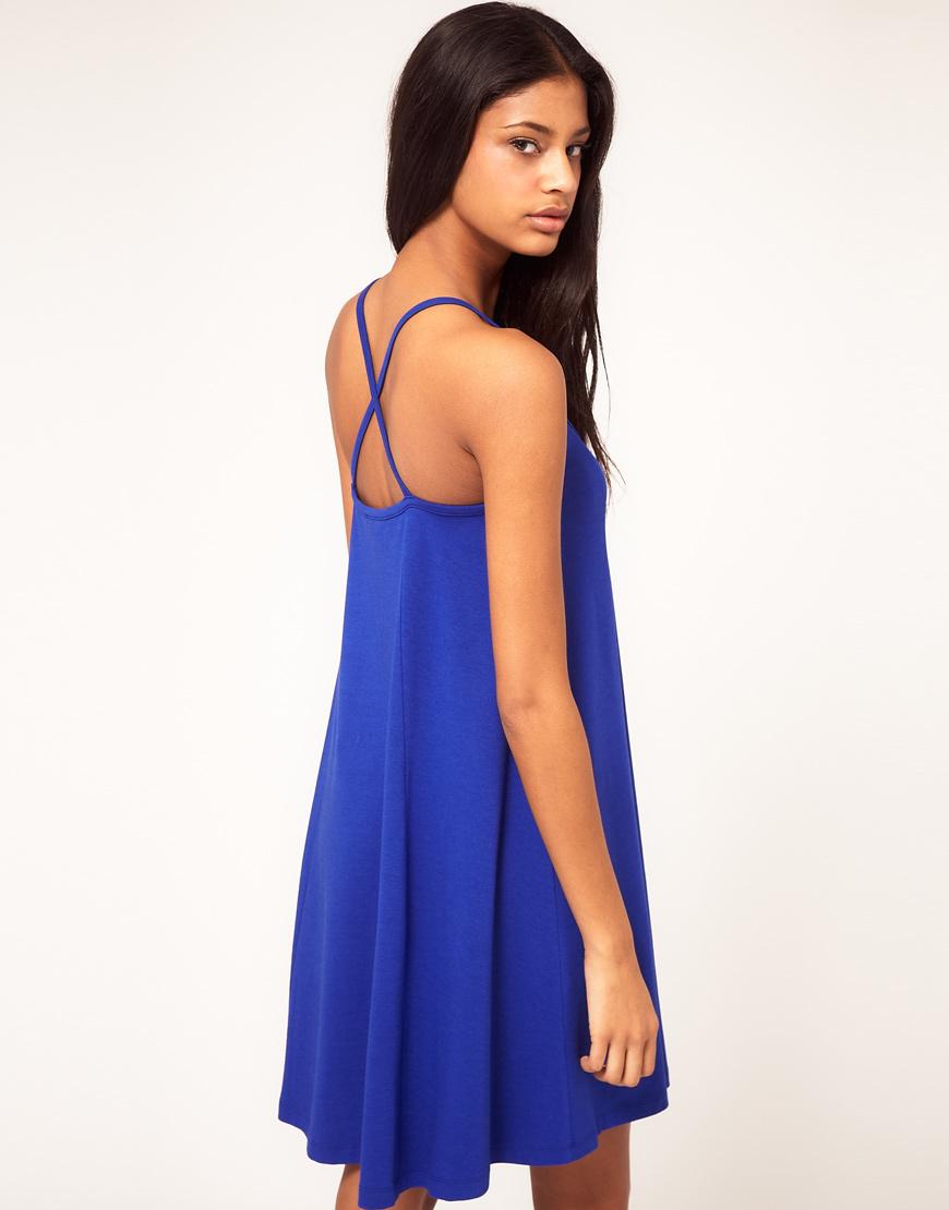 Blue Strappy Back Dress