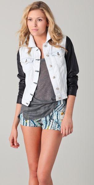 Rag & Bone The Jean Jacket W Leather Sleeves in Blue | Lyst