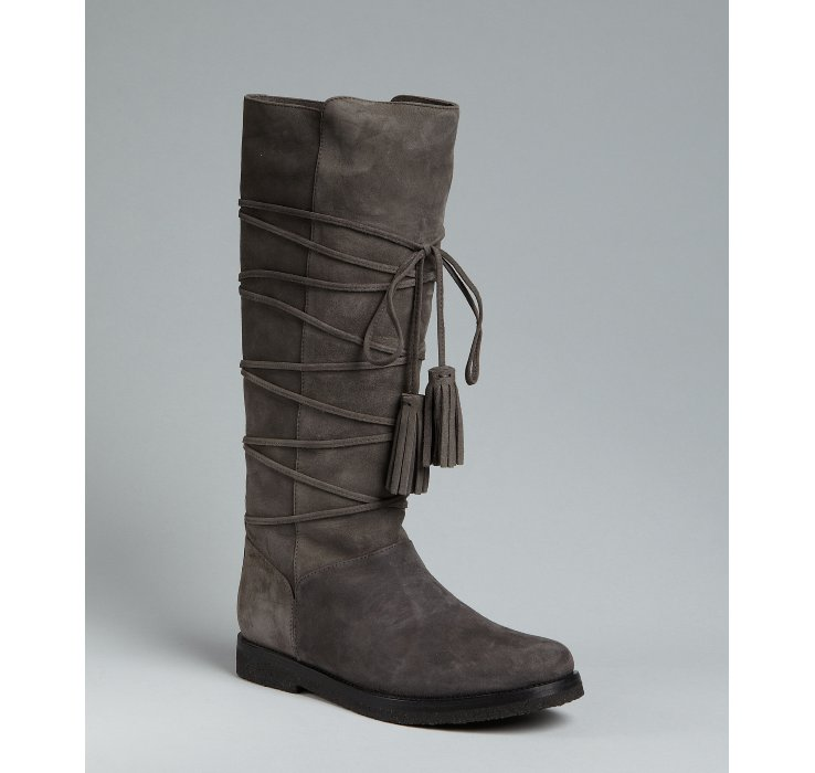 laurent grey suede tassel front flat boots in gray