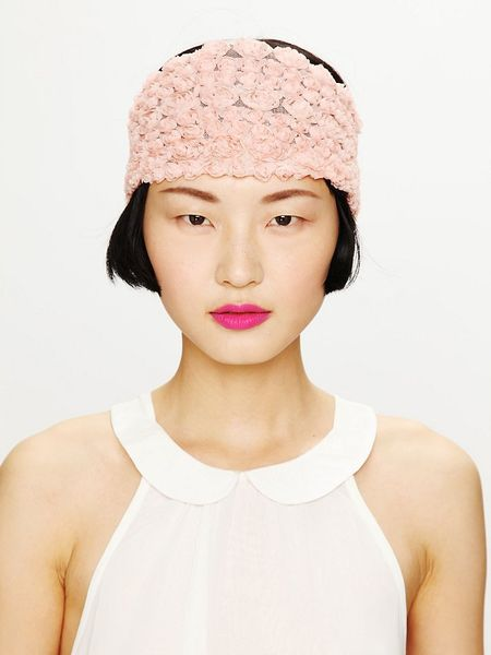 Free People Tatty Floral Gauze Headwrap in Pink (blush)