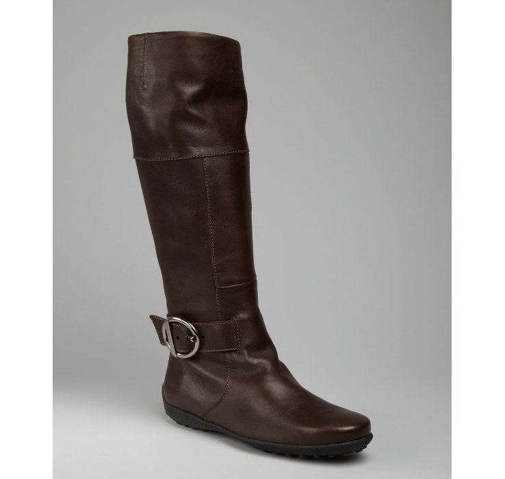 tod s chocolate leather buckle detail flat boots in brown