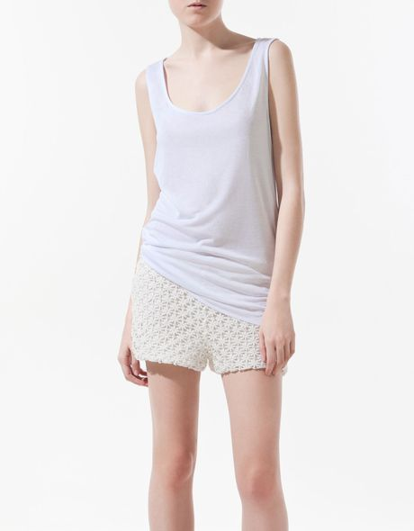 Zara Vest Top with Asymmetric Hem in White