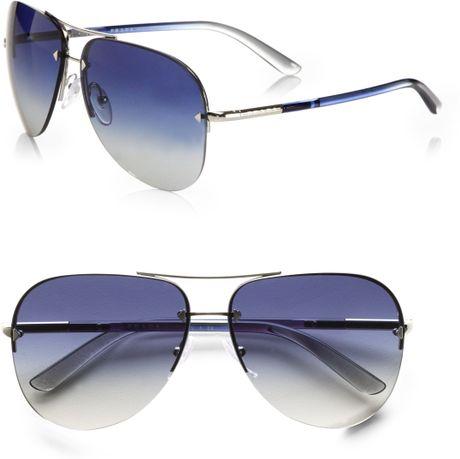 Rimless Aviator Eyeglass Frames : Prada Rimless Aviator Sunglasses in Silver Lyst