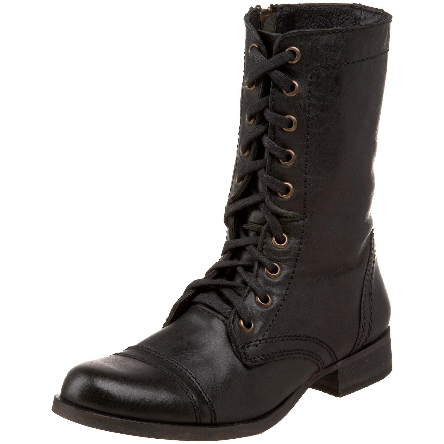 Brilliant New Women39s Fold Over Collar Lace Up Combat Mid Calf Boots Black Sizes