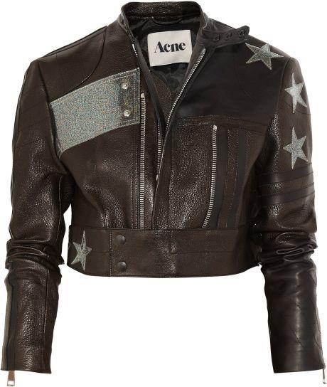 Acne Studios Stars Appliquéd Cropped Leather Biker Jacket in Black