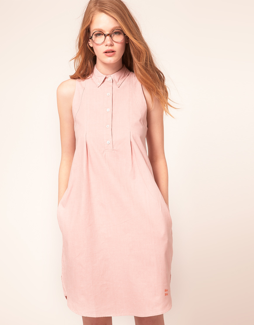 Le Mont St Michel Sleeveless Shirt Dress In Pastel