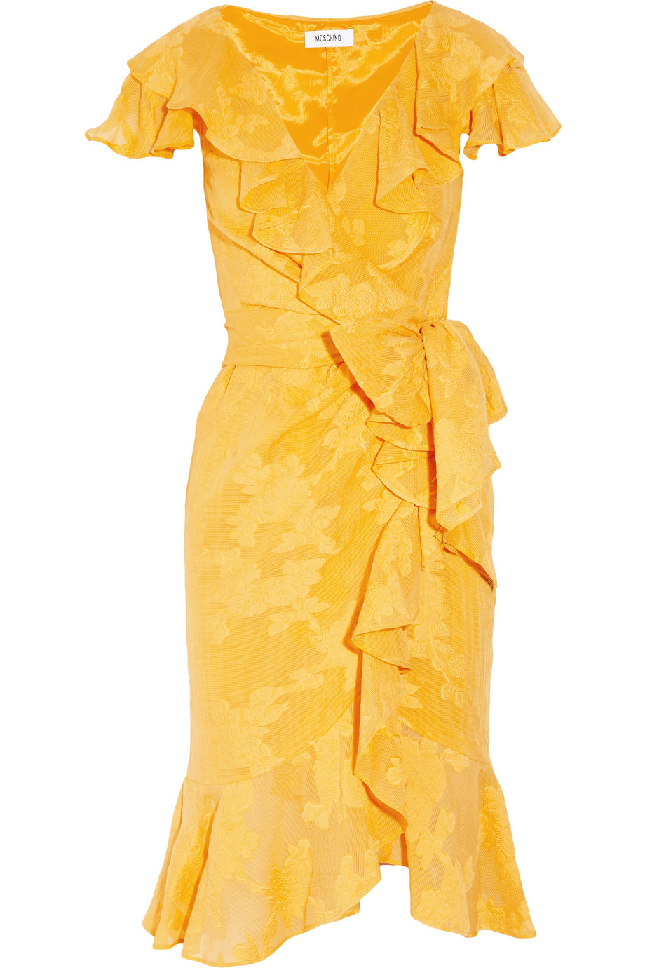 Moschino Ruffled Georgettejacquard Wrap Dress In Yellow Lyst
