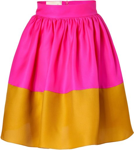Roksanda Ilincic Hot Pink and Mustard Silk Organza Full Skirt in Yellow (pink)
