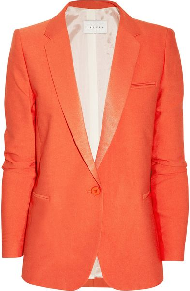 Sandro Vicky Woventwill Blazer in Orange