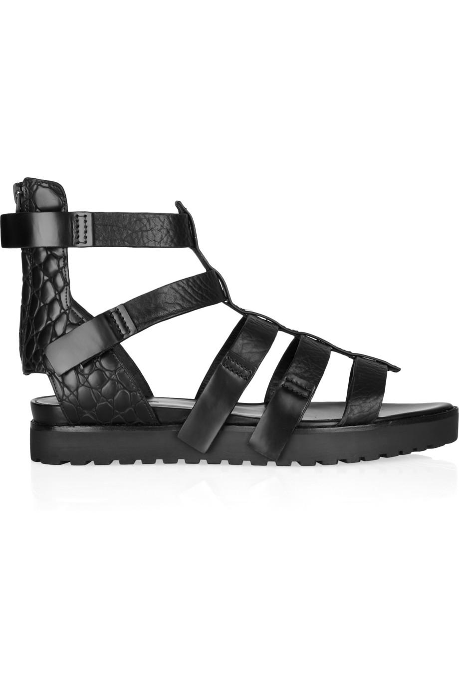 c2ad4675476 Lyst - Alexander Wang Saskia Leather Gladiator Sandals in Black