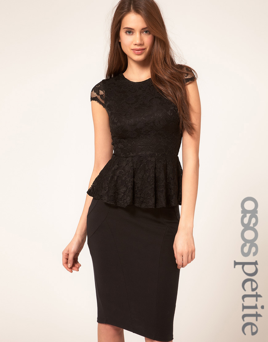 Asos black lace peplum dress