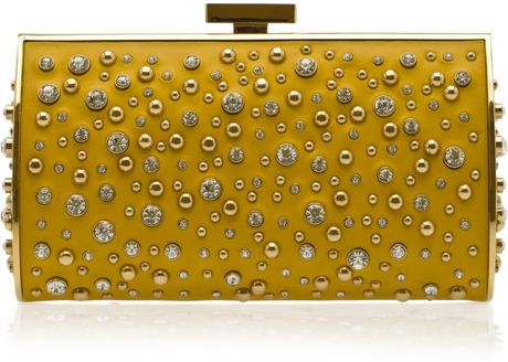 Elie Saab Structured Leather and Crystal Clutch in Gold