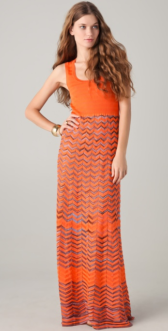 Lyst M Missoni Maxi Dress In Orange