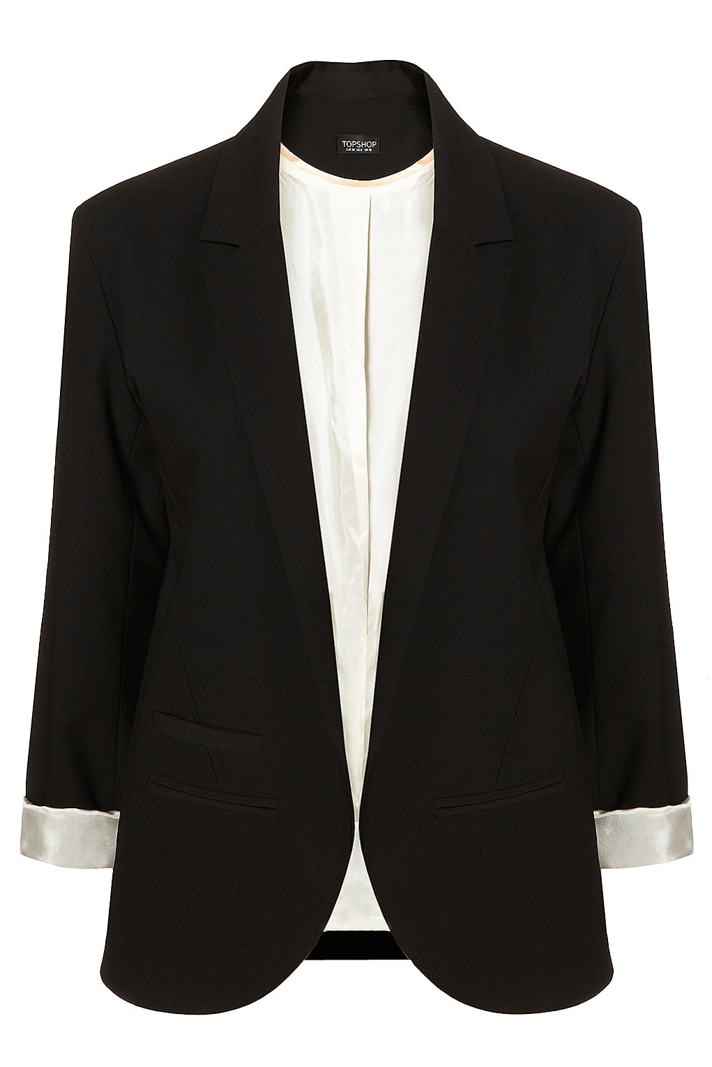 Available in Black Solid Blazer Zipper Front 95% Polyester 5% Spandex.