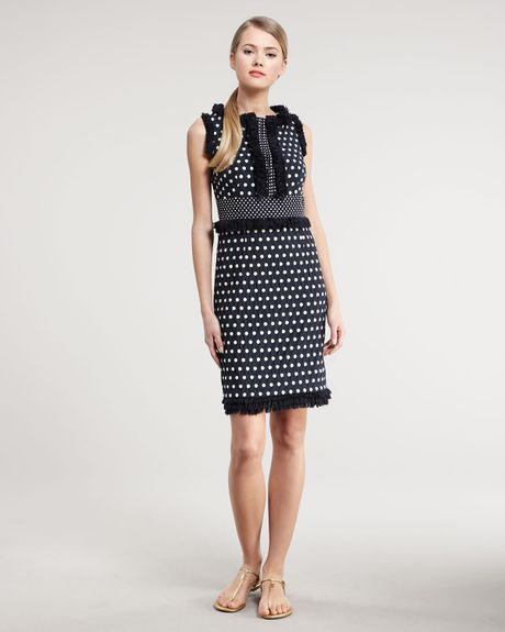 Tory Burch Evelyn Polkadot Dress in Blue (normandy blue) - Lyst