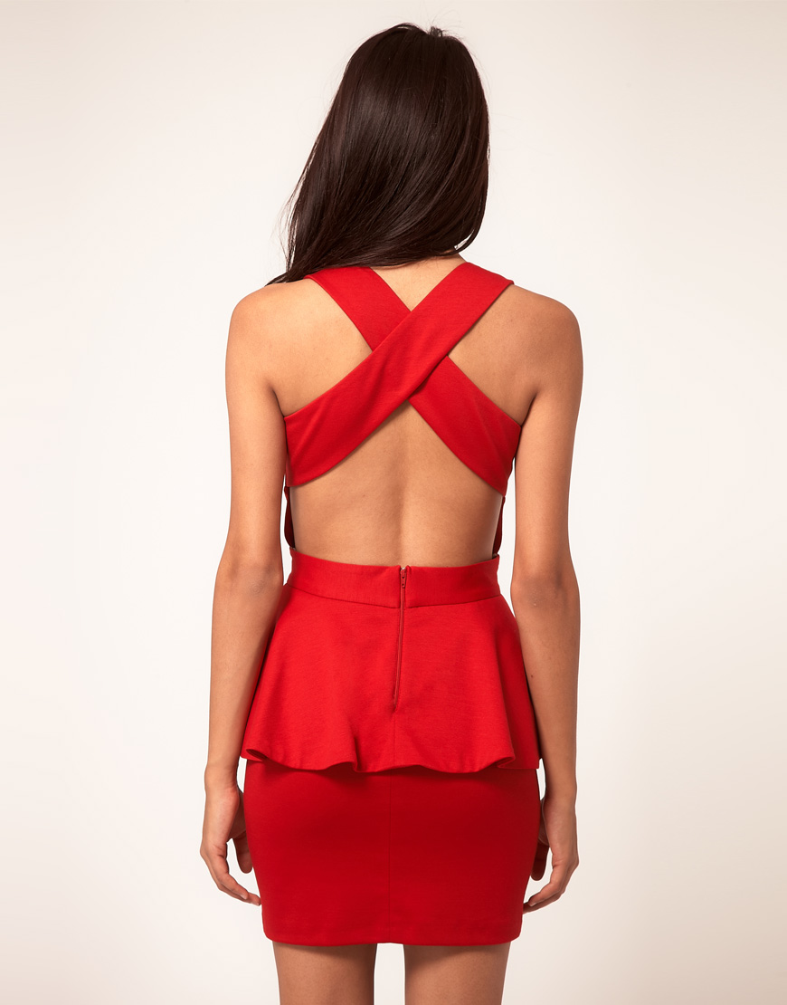 Asos collection Peplum Dress With Cut Out in Red | Lyst