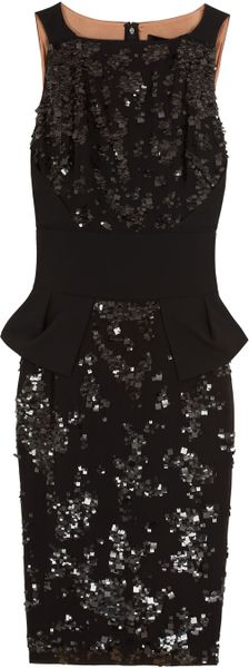 Elie Saab Short Sequin Dress in Black
