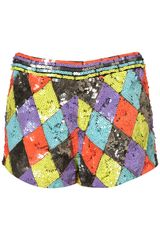 Topshop Harlequin Sequin Shorts By Dress Up