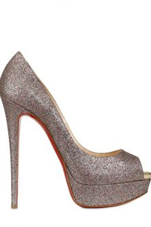 Christian Louboutin 150mm Lady Peep Glitter Pumps - Lyst