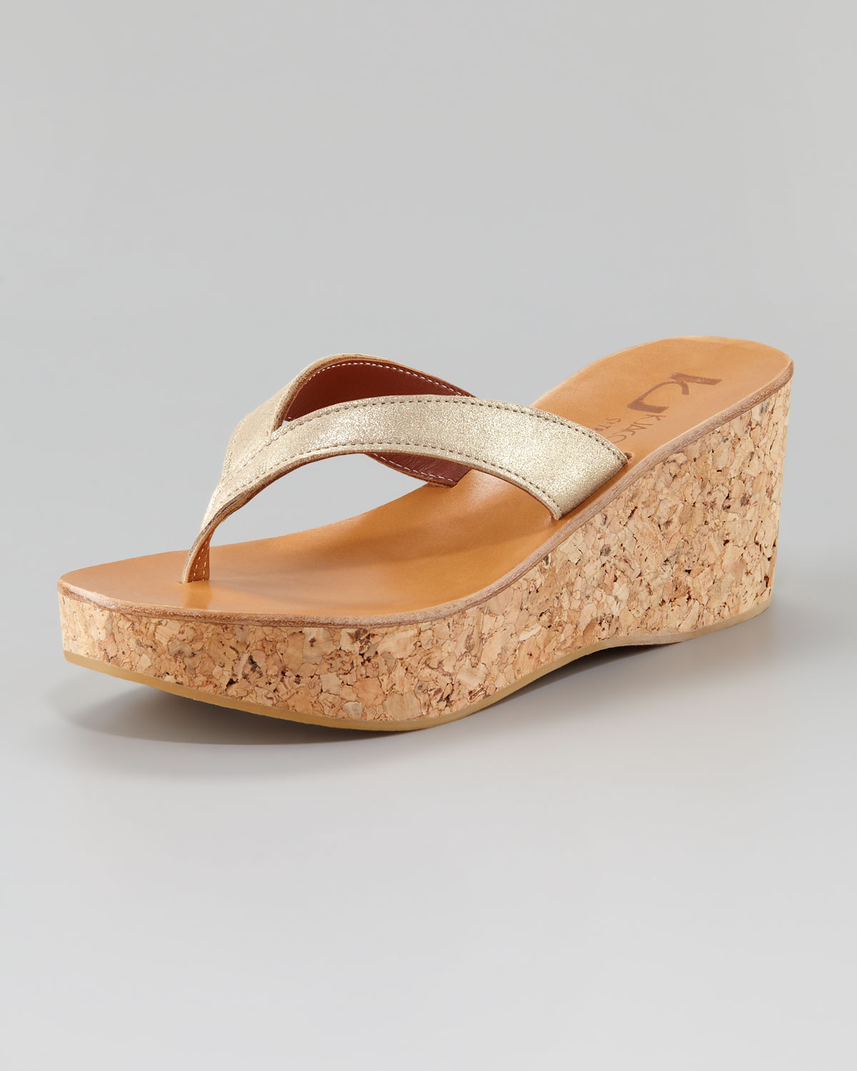 ef201d1bb364 Lyst - K. Jacques Diorite Cork Wedge Sandal Gold in Metallic
