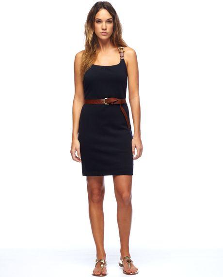 michael kors exclusive belted dress in black navy lyst