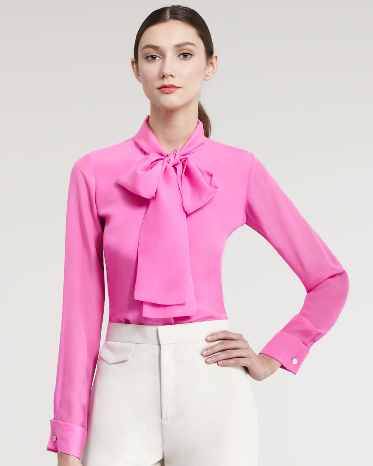 1b3f3be21aca93 Lyst - Raoul Silk Tie- Neck Blouse in Pink for Men