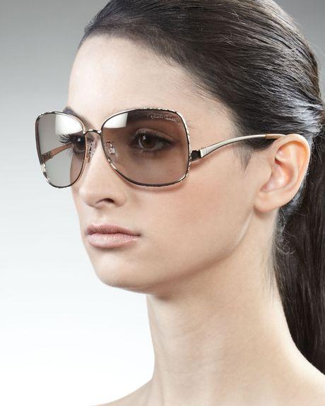 Roberto Cavalli Square Metal Sunglasses Rose Golden in Gold (rose gold)