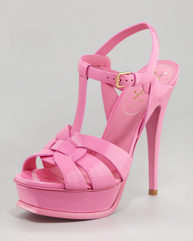 54cd27c5ed4 Saint Laurent Tribute Platform Sandal in Pink - Lyst