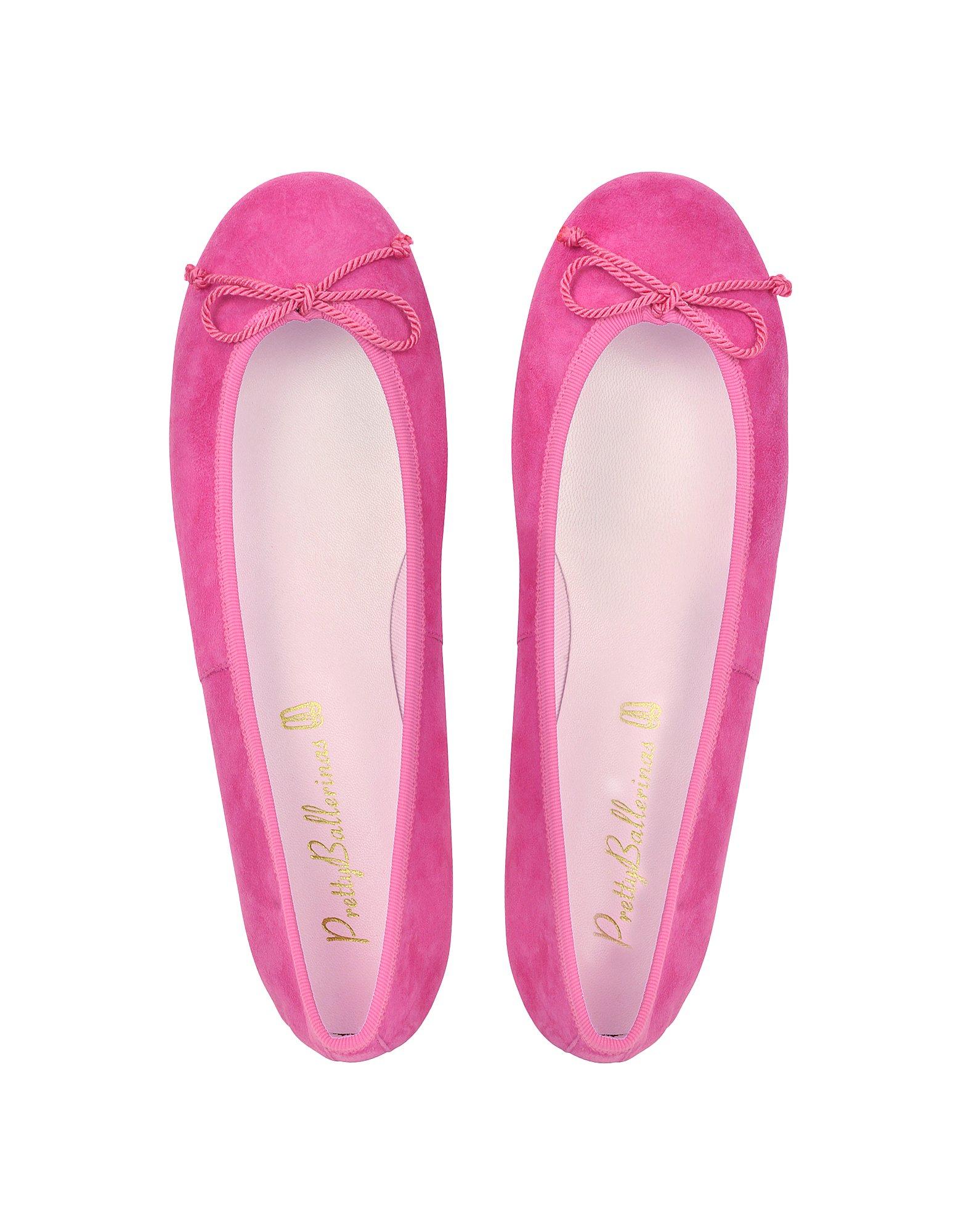 pretty ballerinas fuchsia suede ballerina shoes in purple lyst. Black Bedroom Furniture Sets. Home Design Ideas