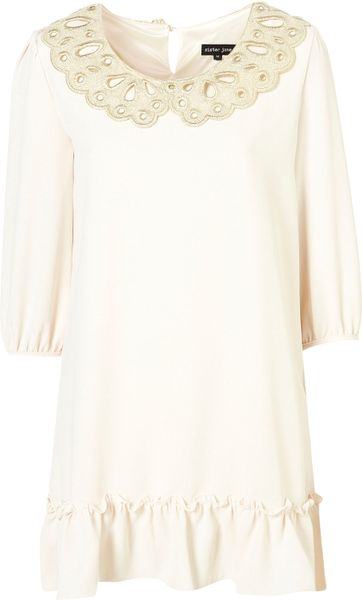 Topshop Lace Collar Dress By Sister Jane in White (ivory)