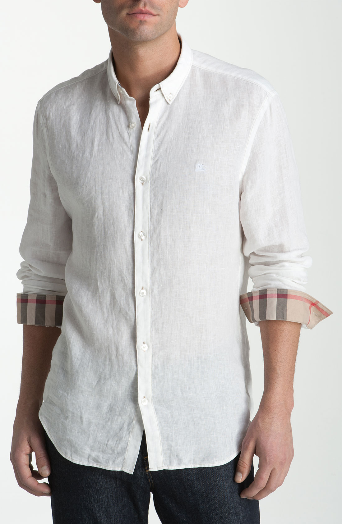 Lyst burberry linen sport shirt in white for men for Where are burberry shirts made