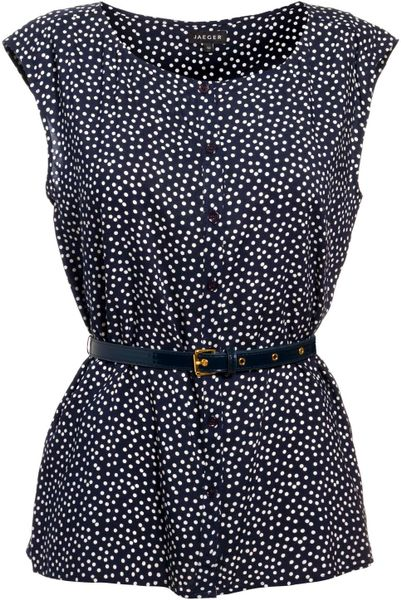Jaeger Polka Dot Blouse with Belt in Blue (navy)