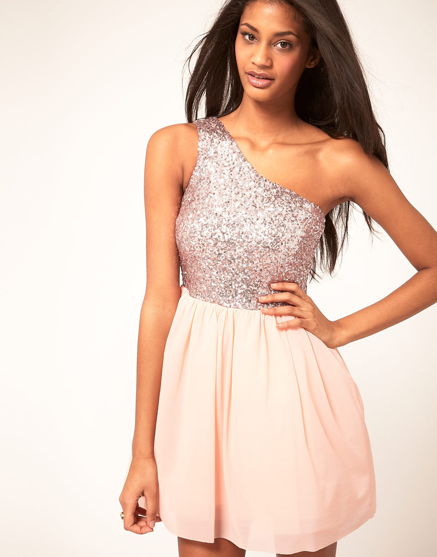 Asos collection Skater Dress With Sequin Top in Pink Lyst 5c5754166