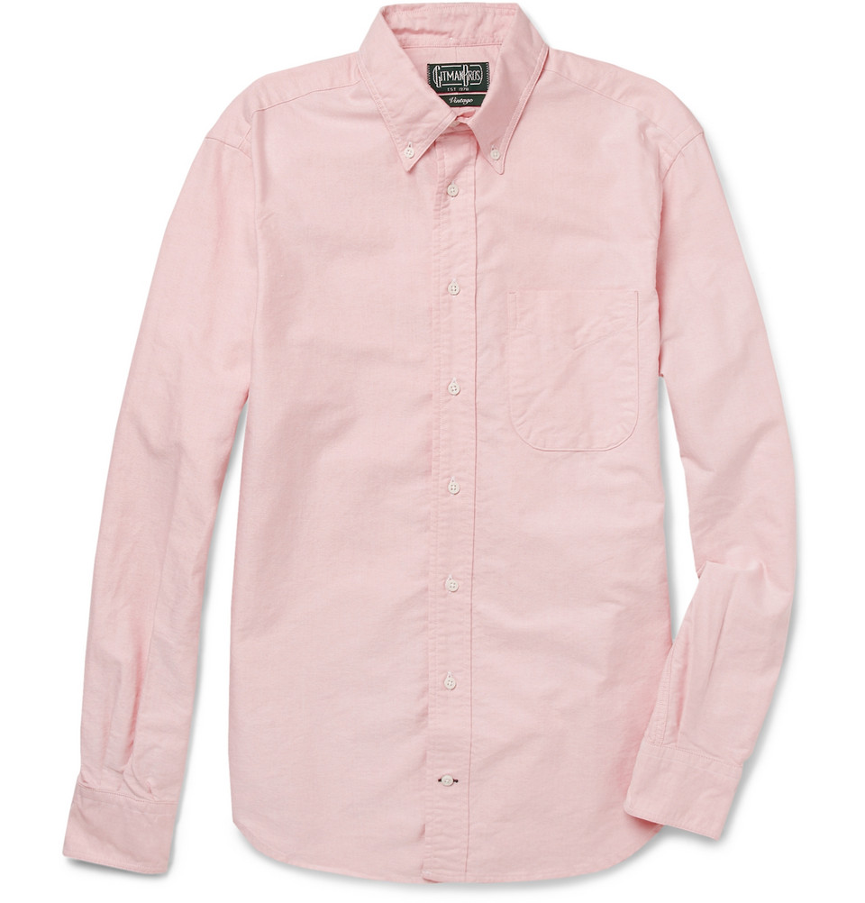 Gitman brothers vintage buttondown collar oxford shirt in for Pink oxford shirt men