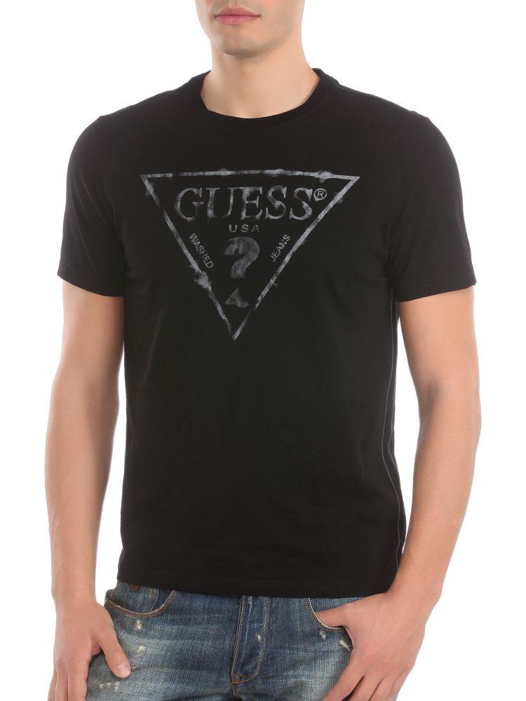 guess triangle logo t shirt in black for men lyst. Black Bedroom Furniture Sets. Home Design Ideas