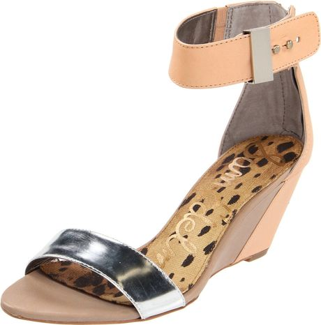 Sam Edelman Sam Edelman Womens Sophie Wedge Sandal in Orange (silver/natural) - Lyst