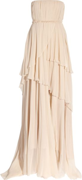 Girl. By Band Of Outsiders Charlotte Silk Georgette Gown in Beige (nude)